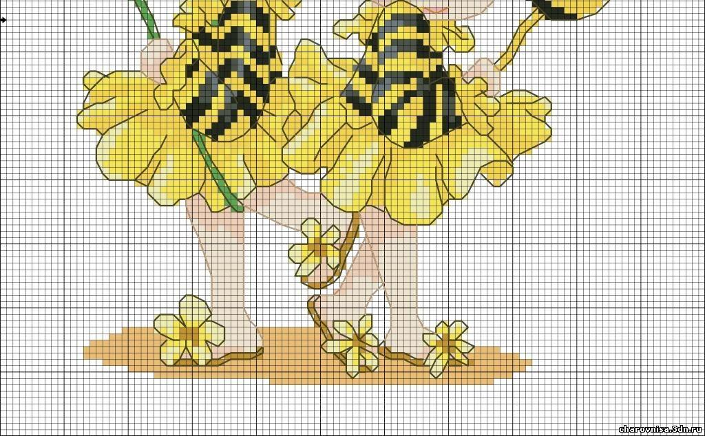 Схему вышивки крестом пчелка 149