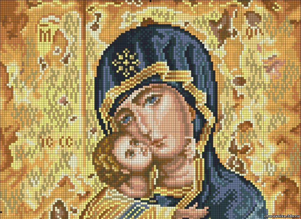 Владимирская божья матерь вышивка крестом схемы