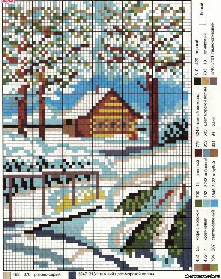 Схемы для вышивки пейзажи