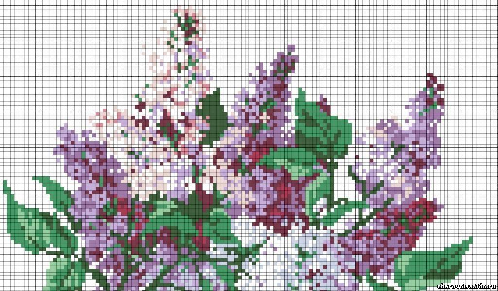 Вышиваем цветы (крестом)