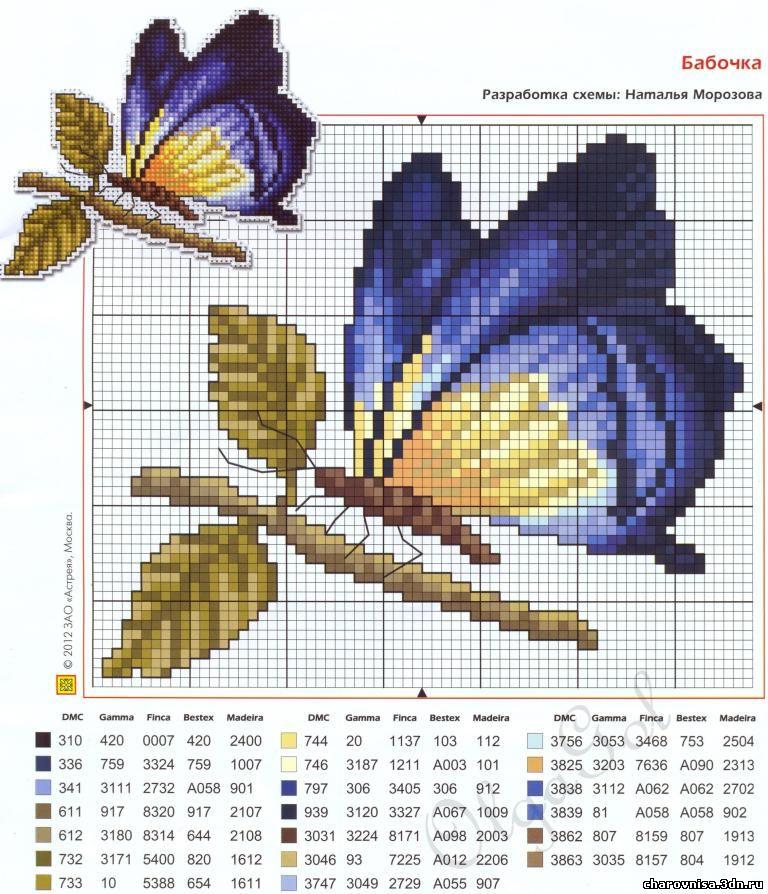 Схема вышивки крестом бабочек для начинающих