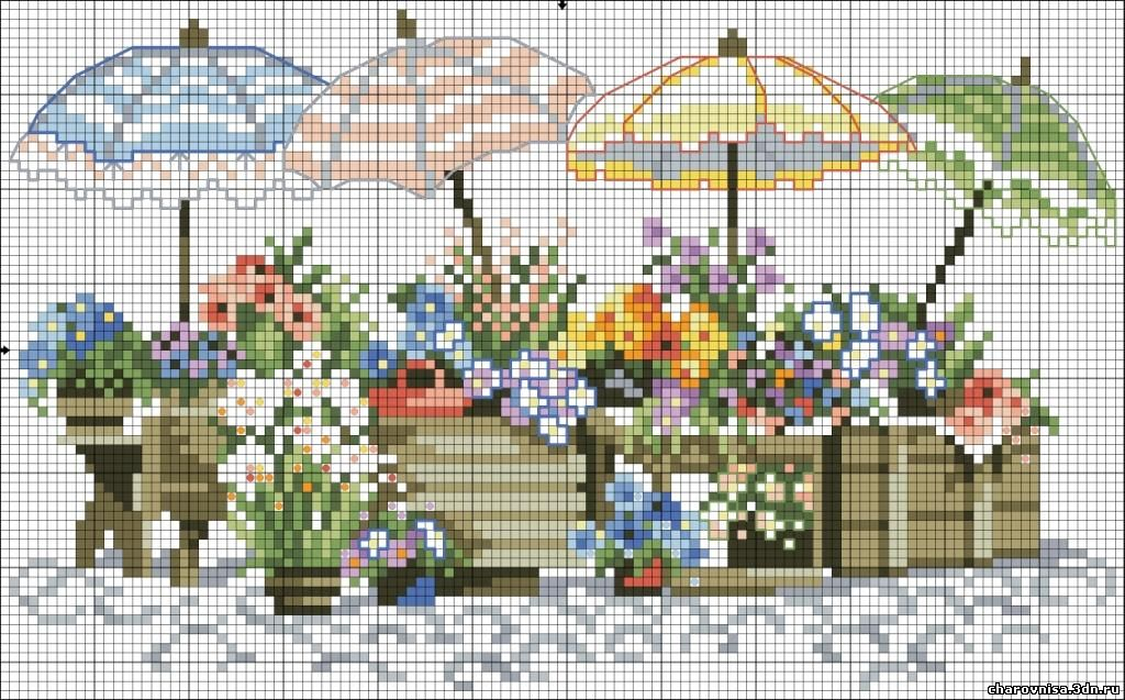 Вышивка крестом зонтик с цветами схемы 13