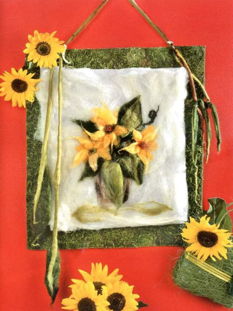 Картины с цветами из войлока своими руками